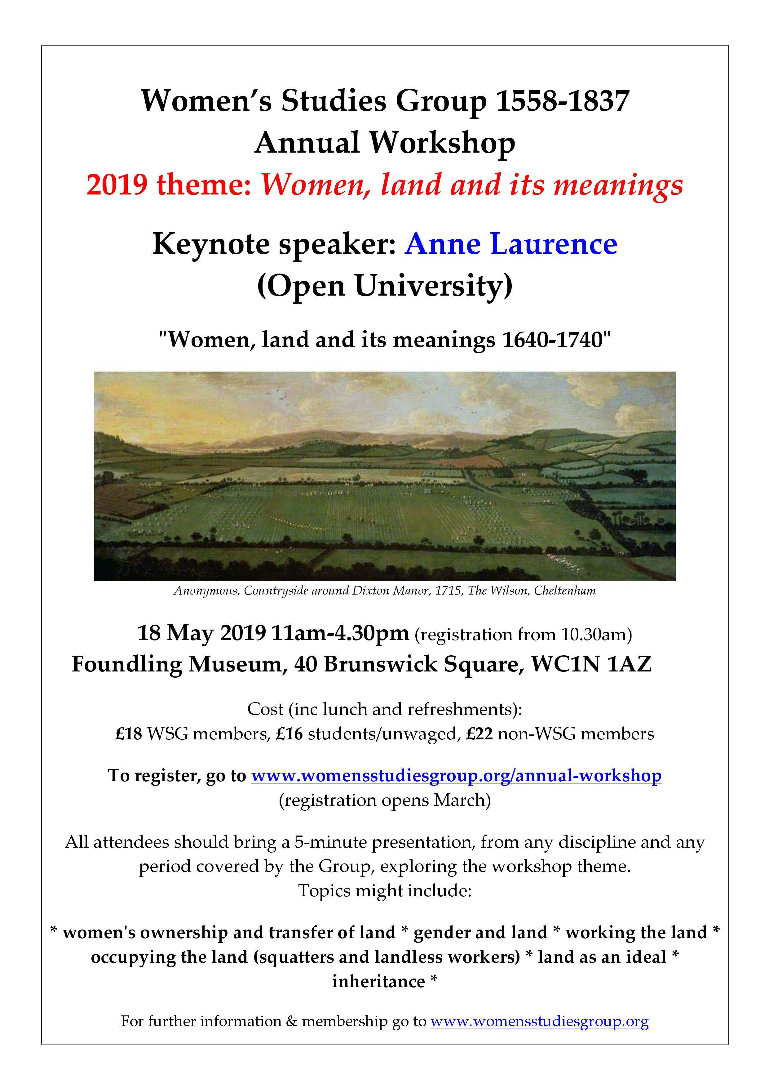 Women's Studies Group Annual Workshop 2019 – Women, Land and its